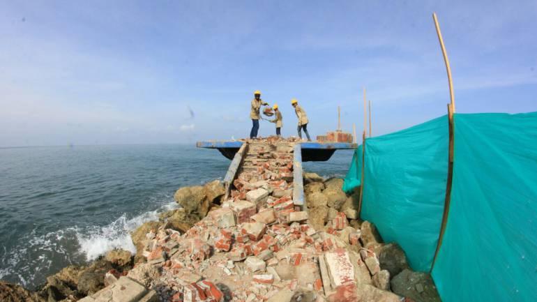 Alcaldía de Cartagena inició restauración del monumento Unión de los Océanos