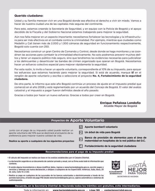 Impuestos Bogotá: Próximos formularios de impuestos en Bogotá incluirán aporte voluntario a seguridad