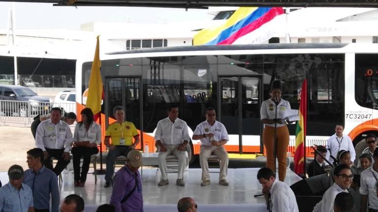 Transcaribe en Cartagena: Presidente Santos inauguró formalmente Transcaribe