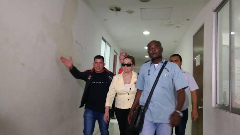 Silvia Gette en el edificio de Servicios Judiciales en Barranquilla.