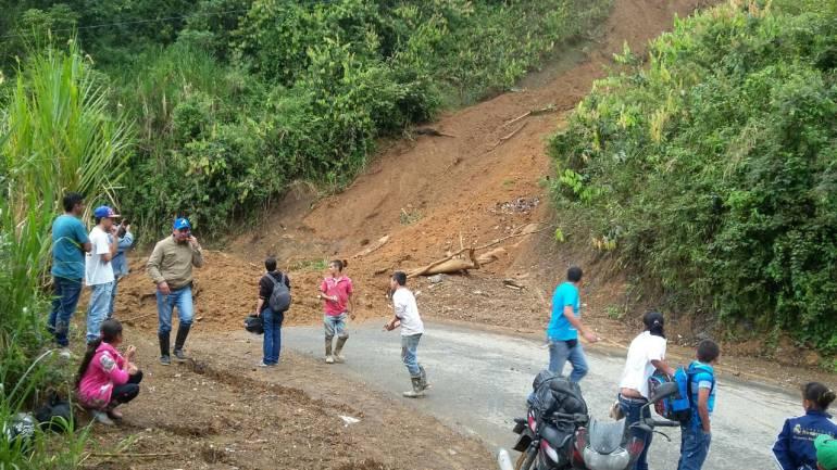 Deslizamiento en la vía Concordia-Betulia en Antioquia