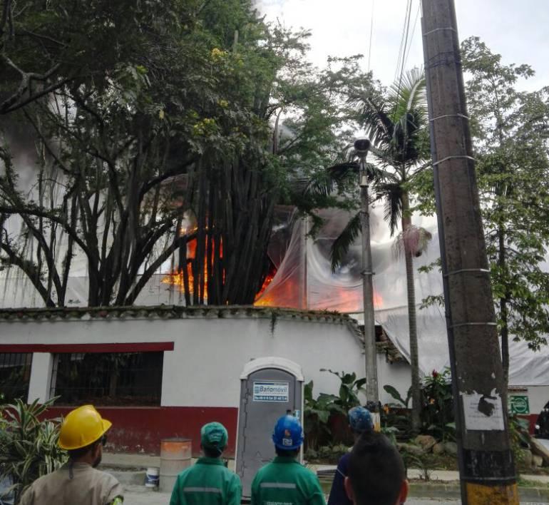 Incendio en la Casa de la Cultura de Envigado