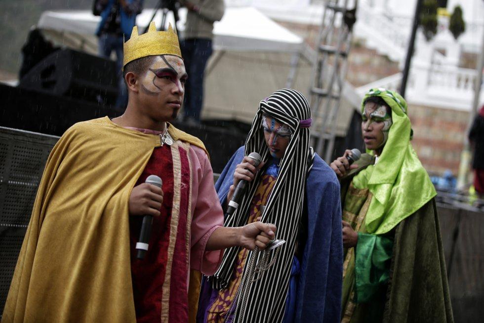 Melchor, Gaspar y Baltazar son representados por personajes locales.