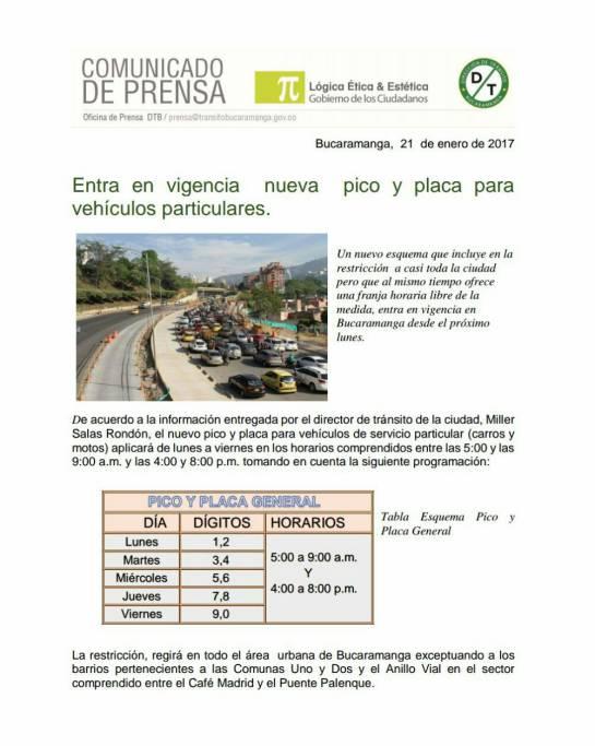 Pico y placa en Bucaramanga: 600.000 vehículos entrarán en pico y placa en Bucaramanga