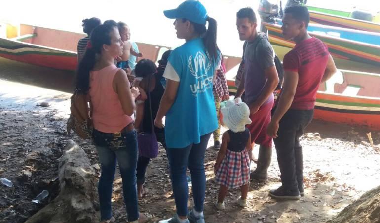 Personas colombianas llegando al estado Zulia, Venezuela