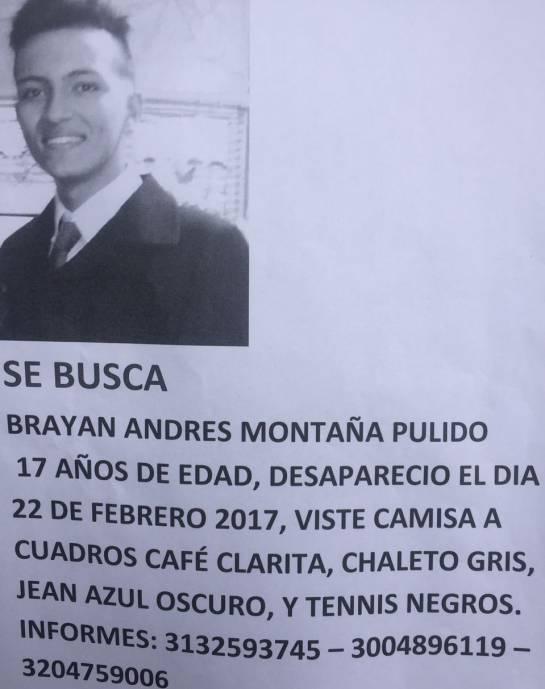 Desaparecido Brayan Andrés Montaña
