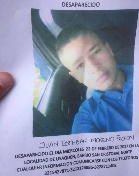 Desparecido Juan Esteban Moreno