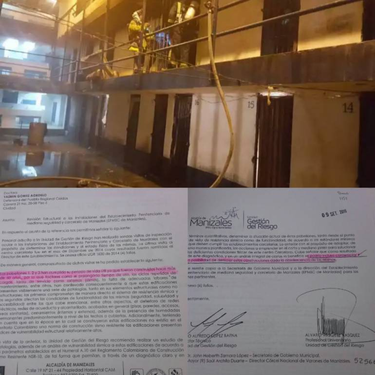 Estos documentos evidencian que la Ugr manifestó que los pabellones uno, dos y tres de la Cárcel de Manizales ya cumplieron su ciclo de vuda útil.