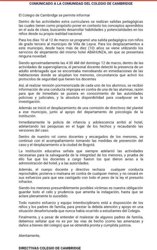 Niñas de 7 y 8 años abusadas en paseo a Villa de Leyva: Investigan presuntos abusos a niñas de 7 y 8 años en un paseo a Villa de Leyva