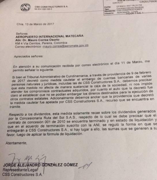 Se prorrogará de nuevo la firma de inicio de obra de la APP del Aeromatecaña