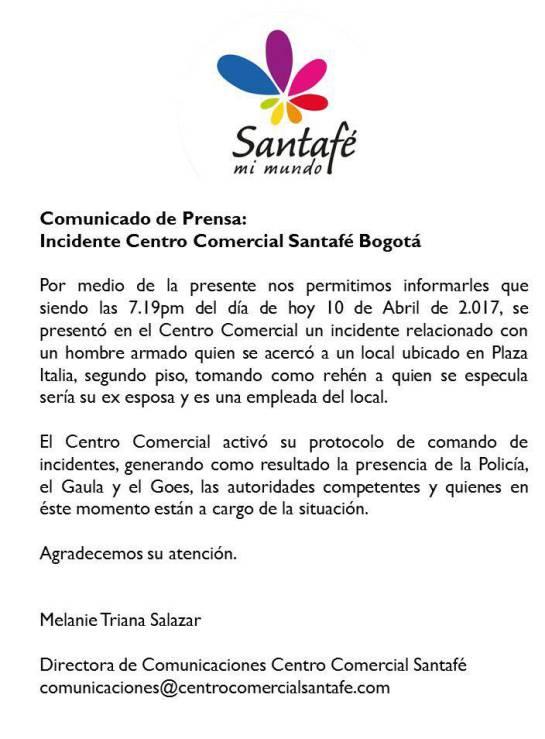 Hombre asesinó a su ex pareja en Santafé: Hombre asesinó a su ex pareja en instalaciones del Centro Comercial Santafé