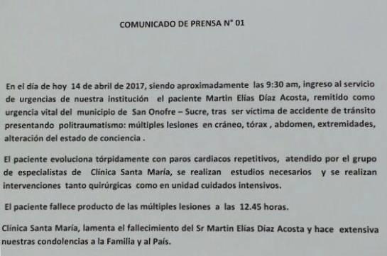 Muerte Martín Elías: Martín Elías falleció producto de las múltiples lesiones a las 12:45 horas: Clínica Santa María