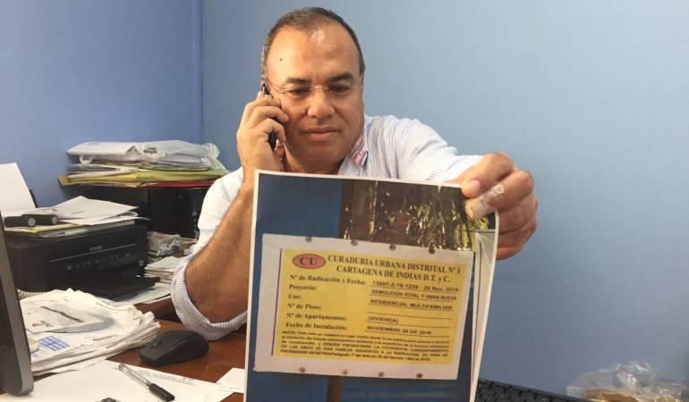Valla de curaduría que estaba en el edificio que se cayó en Cartagena era falsa