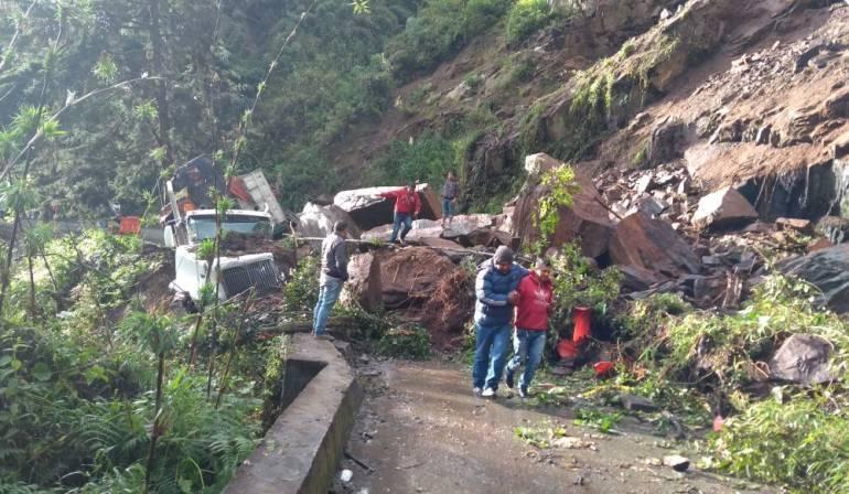 Derrumbe el sector de la Paloma en Cajamarca
