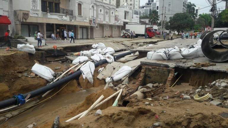 Así quedaron las obras de canalización del arroyo de la calle 76 luego de un aguacero reciente.