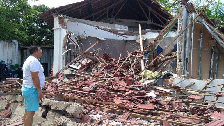 caída de techo en Bellas Artes Barranquilla: Se cayó el techo de dos salones de Bellas Artes