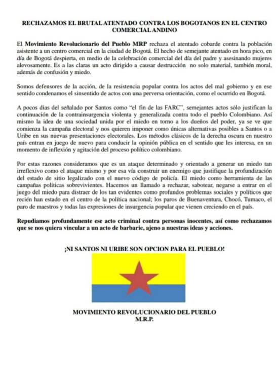 Atentado en el Andino: Movimiento Revolucionario del Pueblo niega autoría de atentado en el Andino