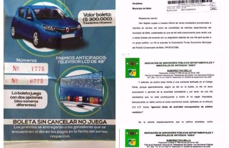 ALCALDÍA DE BELLO VENDE BOLETAS FINANCIAR PARTIDO POLÍTICO: En Alcaldía de Bello, Antioquia, venden boletas para financiar partido político