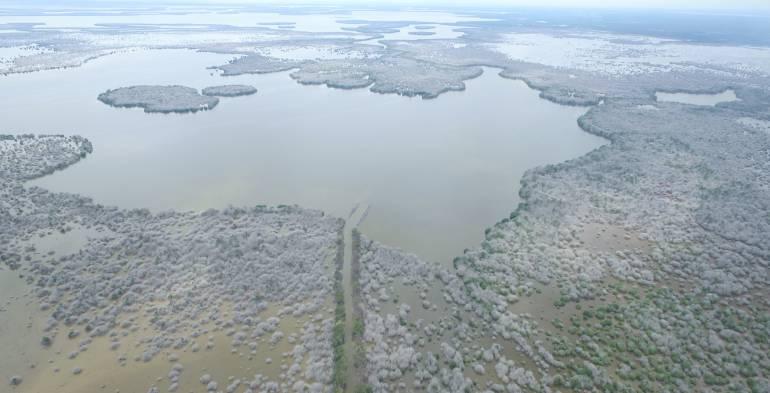 Las obras de dragado se adelantan en la zona noroeste de la Ciénaga Grande de Santa Marta.