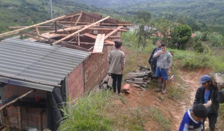 vendaval; Manizales; Riosucio; Caldas; emergencia: Dos resguardos indígenas de Riosucio afectados por fuerte vendaval