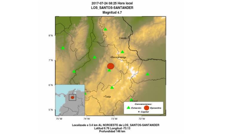 Sismo de 4.7 grados reportan en Santander