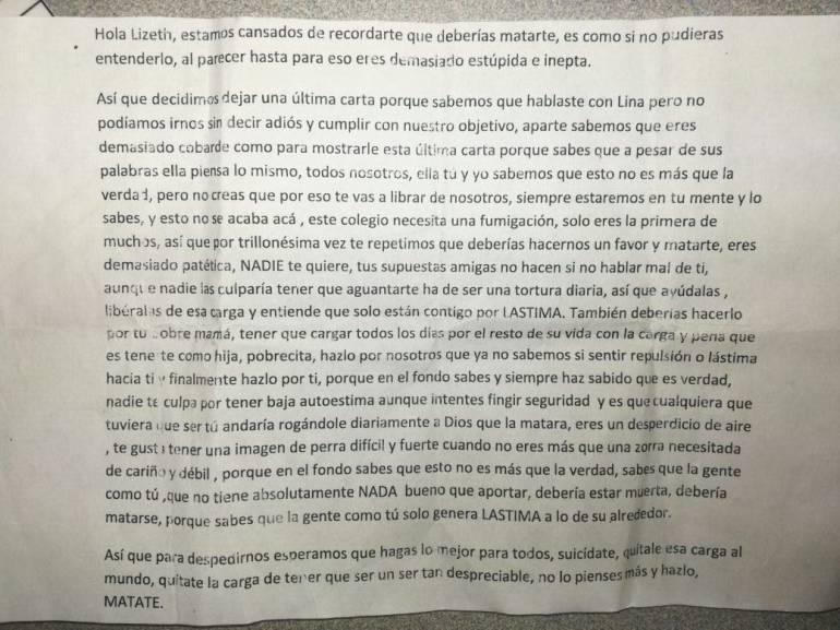 Con panfletos intimidantes una menor es incitada a quitarse la vida en colegio de Bucaramanga: Con panfletos una menor es incitada a quitarse la vida en colegio de Bucaramanga