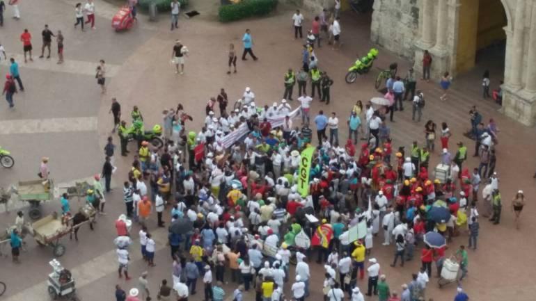 Realizan marcha por la paz y contra la pobreza en Cartagena: Realizan marcha por la paz y contra la pobreza en Cartagena