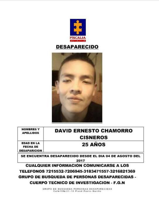 Asesinato joven desaparecido en Pasto: Hallan sin vida a joven de 25 años que estaba desaparecido en Pasto