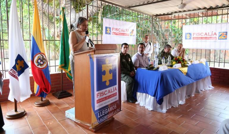 Vicefiscal general de la Nación María Paulina Riveros Dueñas,en el municipio de Tibú