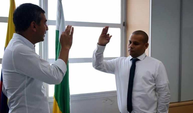 El alcalde Diego Armando González Toloza y Manuel Fernando Omaña Ramírez nuevo director de transito