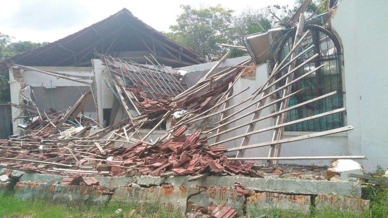 El pabellón de música de la Facultad de Bellas Artes de la Universidad del Atlántico que colapsó.
