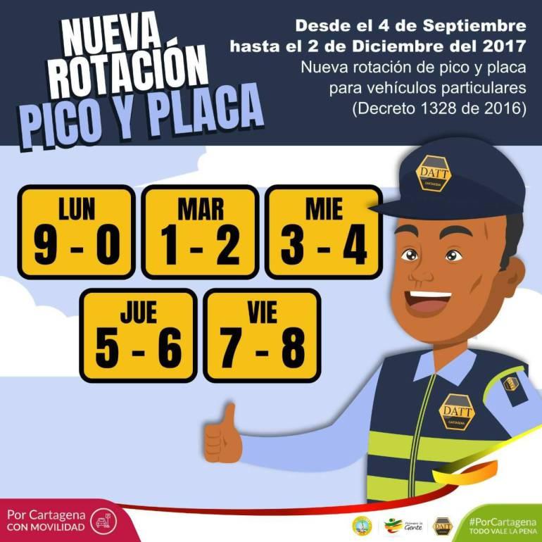 A partir de este lunes, nueva rotación de pico y placa en Cartagena