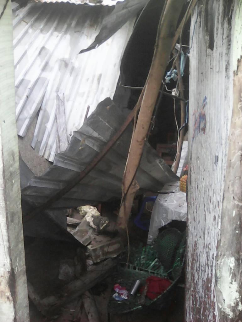 Viviendas afectadas por aguacero en Malambo.