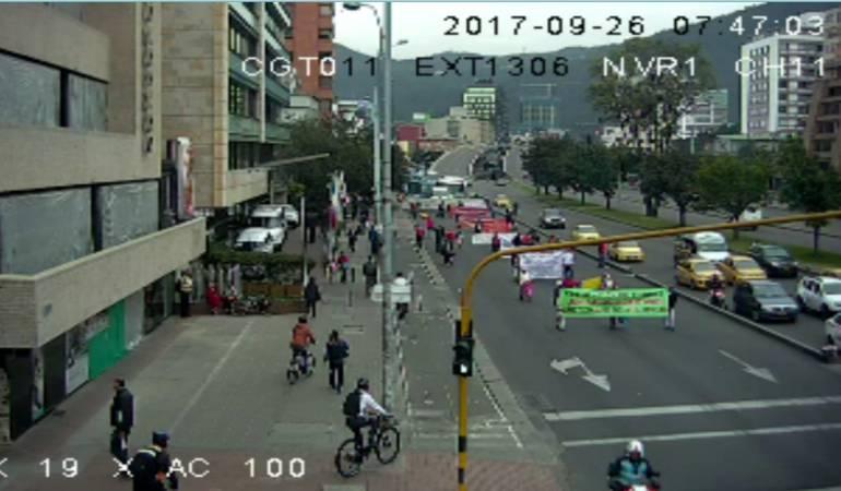 Marcha de desplazados Autopista Norte: Problemas de movilidad en el norte de Bogotá por marcha de desplazados