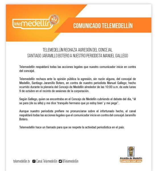 Investigan a concejal de medellín por golpear a periodista de telemedellín: Polémica cachetada de concejal de Medellín a periodista