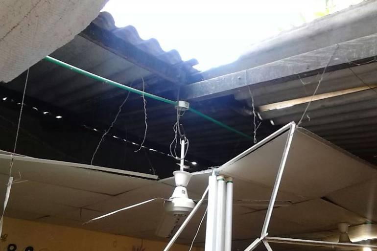 Se cayó techo de un aula en colegio de Cartagena: Se cayó techo de un aula en colegio de Cartagena