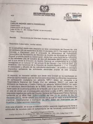 Por falta de recursos, aplazan elecciones de revocatoria de mandato del alcalde de Sogamoso: Por falta de recursos, aplazan elecciones de revocatoria de mandato del alcalde de Sogamoso