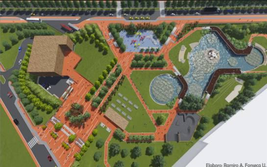 Diseño original del proyecto Parque Biblioteca Metropolitana de Tunja, distinto al existente. Foto, Alcaldía de Tunja.