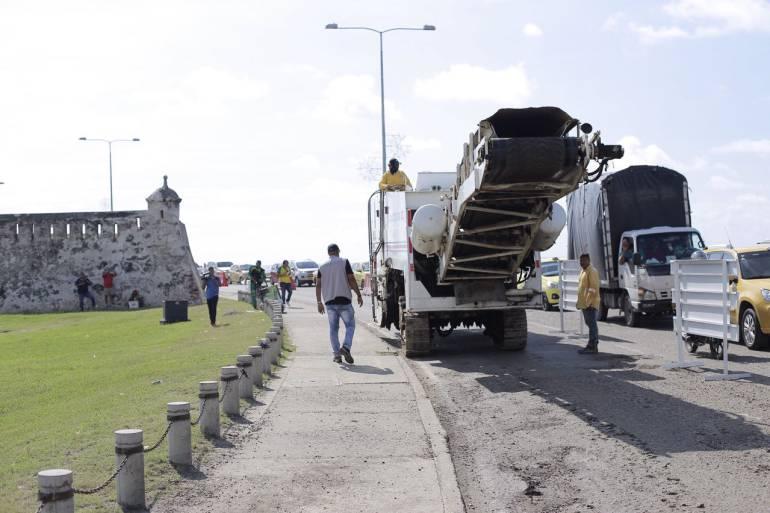 Comenzaron las obras de recuperación de la avenida Santander en Cartagena: Comenzaron las obras de recuperación de la avenida Santander en Cartagena