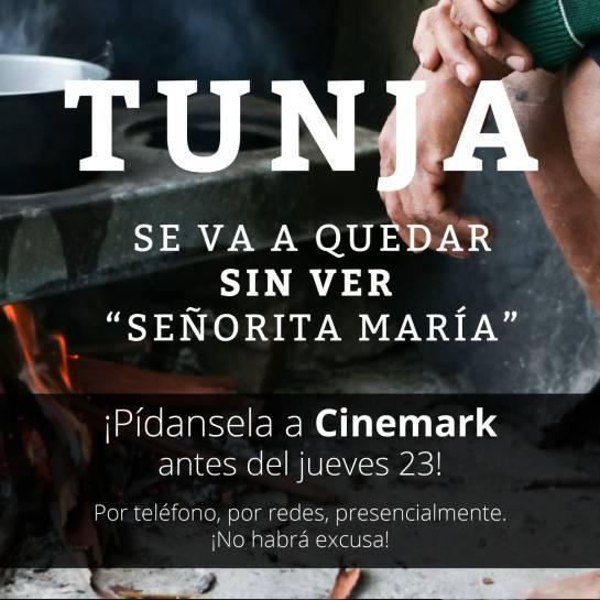 Foto que circula en redes sociales sobre la petición de la película en Tunja.