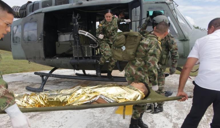 Trasladan a Neiva a campesino víctima de mina antipersona en Caquetá