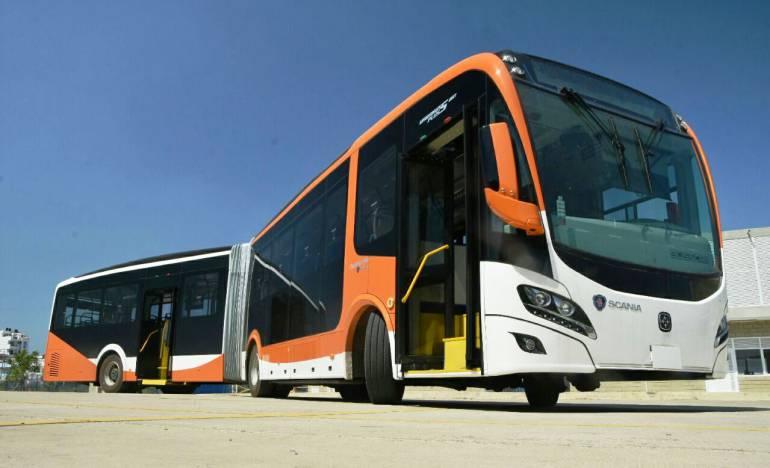 Nuevos buses articulados duales llegan a ampliar servicios de Transcaribe: Nuevos buses articulados duales llegan a ampliar servicios de Transcaribe