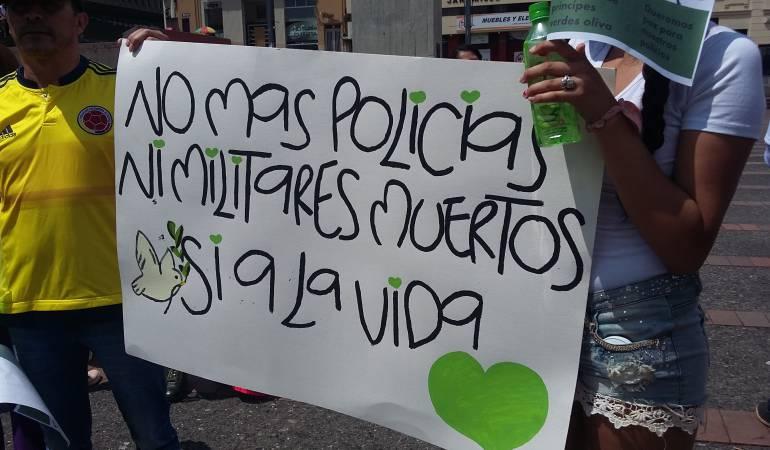 En Manizales pidieron respeto por la vida de los integrantes de la fuerza pública