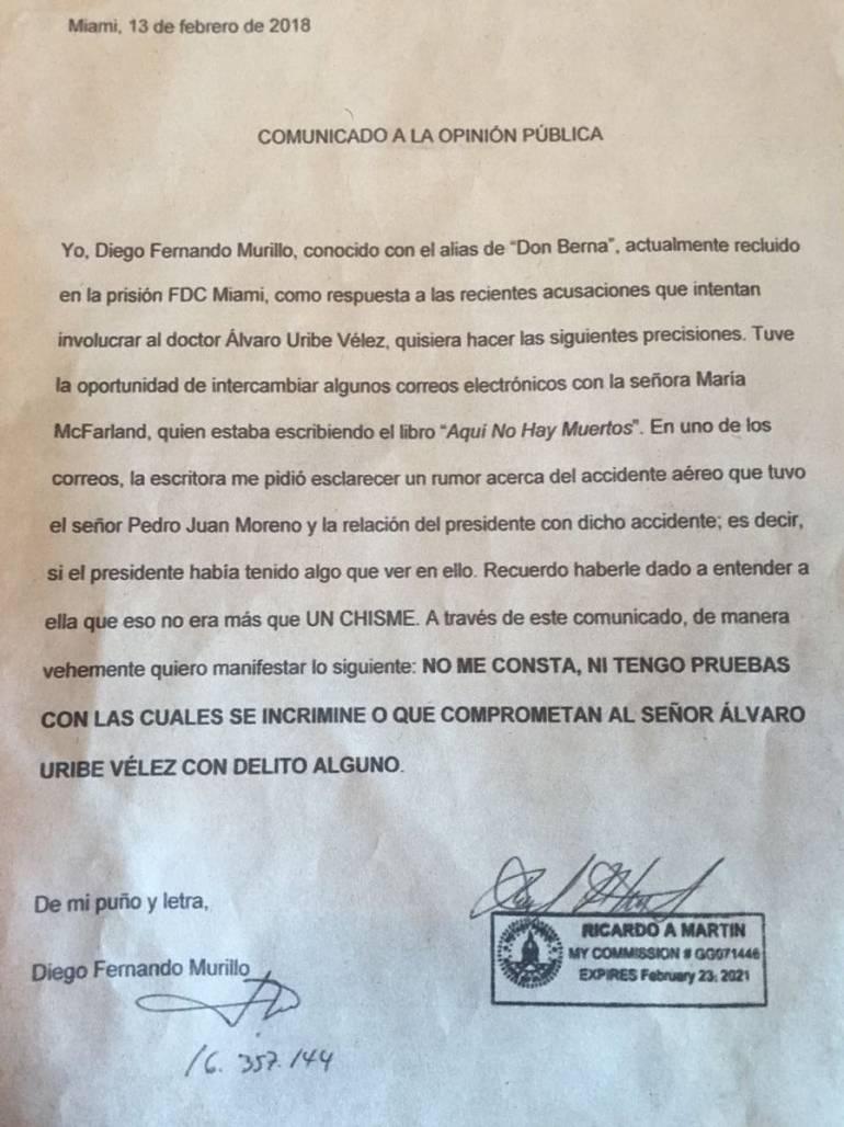 DON BERNA, PEDRO JUAN MORENO, ALVARO UIRBE VÉLEZ, ASESINATO: Don Berna negó que Uribe tenga relación con la muerte de Pedro Juan Moreno