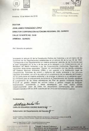 Derecho de petición del gobernador al director de la CRQ