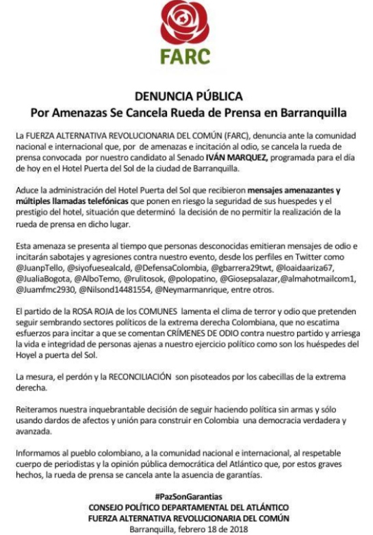Cancelan rueda de prensa con Iván Márquez en Barranquilla