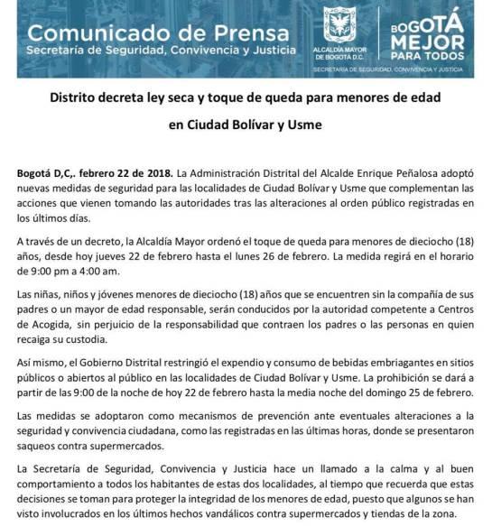 Toque de queda por disturbios en soacha testaferros: Decretan toque de queda para menores en Soacha, Usme y Ciudad Bolívar