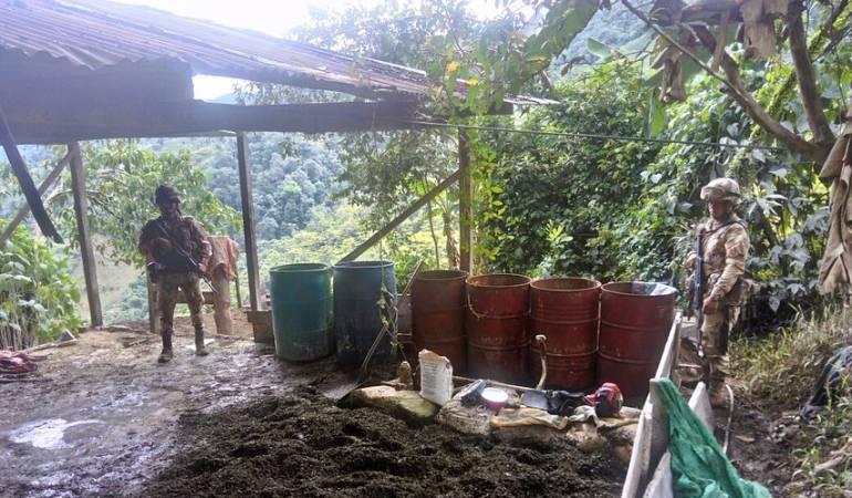Campamento destruido Sur de Cauca