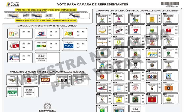 Tarjetón Cámara de Representantes Quindío