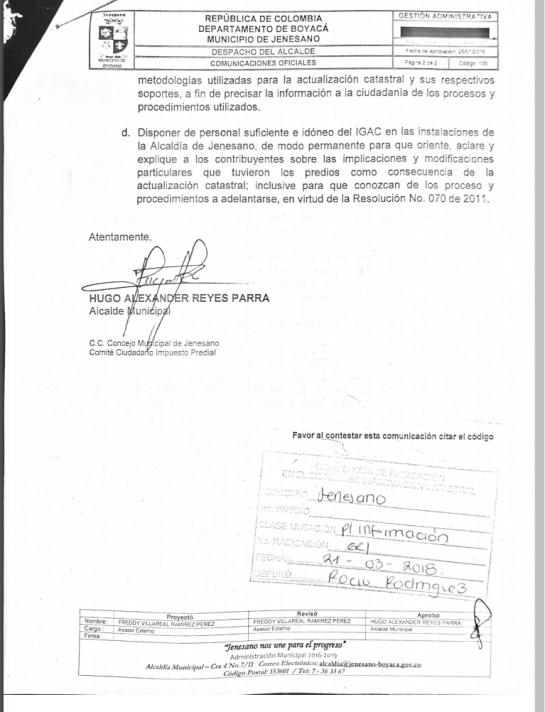 Alcalde de Jenesano solicitó suspender avalúo catastral que aumentó predial: Alcalde de Jenesano solicitó suspender avalúo catastral que aumentó predial